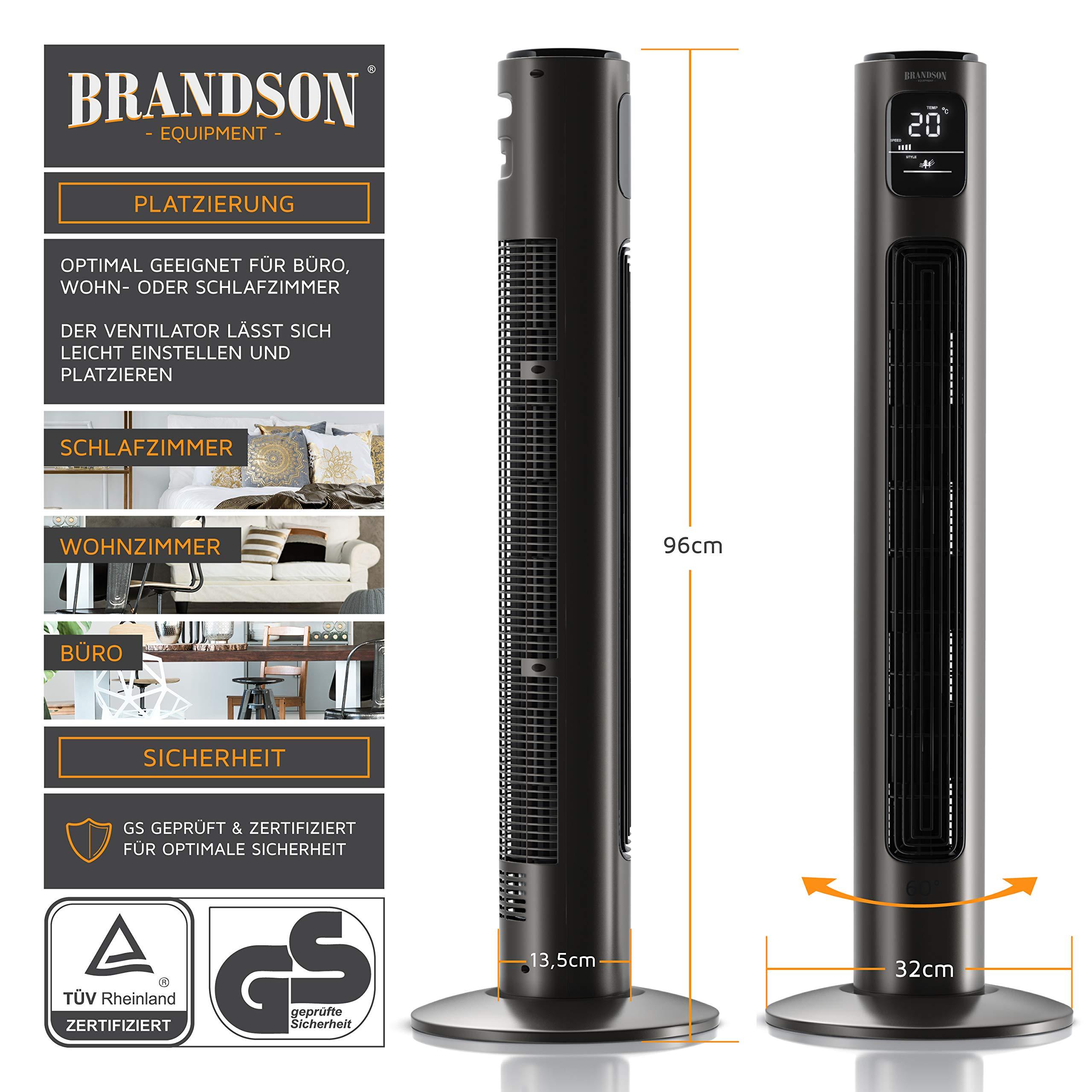 BRANDSON - Ventilador de torre con mando a distancia y oscilación ...