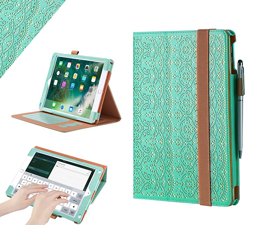 WWW iPad 9.7 2018/2017 Case, [Luxury Laser Flower] Premium PU Leather Case Protective Cover with Auto Wake/Sleep Feature for the Apple iPad 9.7 iPad 5th/6th Generation Mint Green