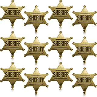 Metal Sheriff Badge Bronze Western Cowboy Badge Deputy Sheriff's Toy Badges for Halloween and Party Favors Costume Prop (12 Pieces)