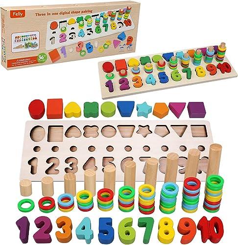 Felly Jouet Montessori Mathématiques Bébé 1 2 3 Ans, Jeux Éducatif Puzzles en Bois, Apprendre à Compter et Les Couleu...