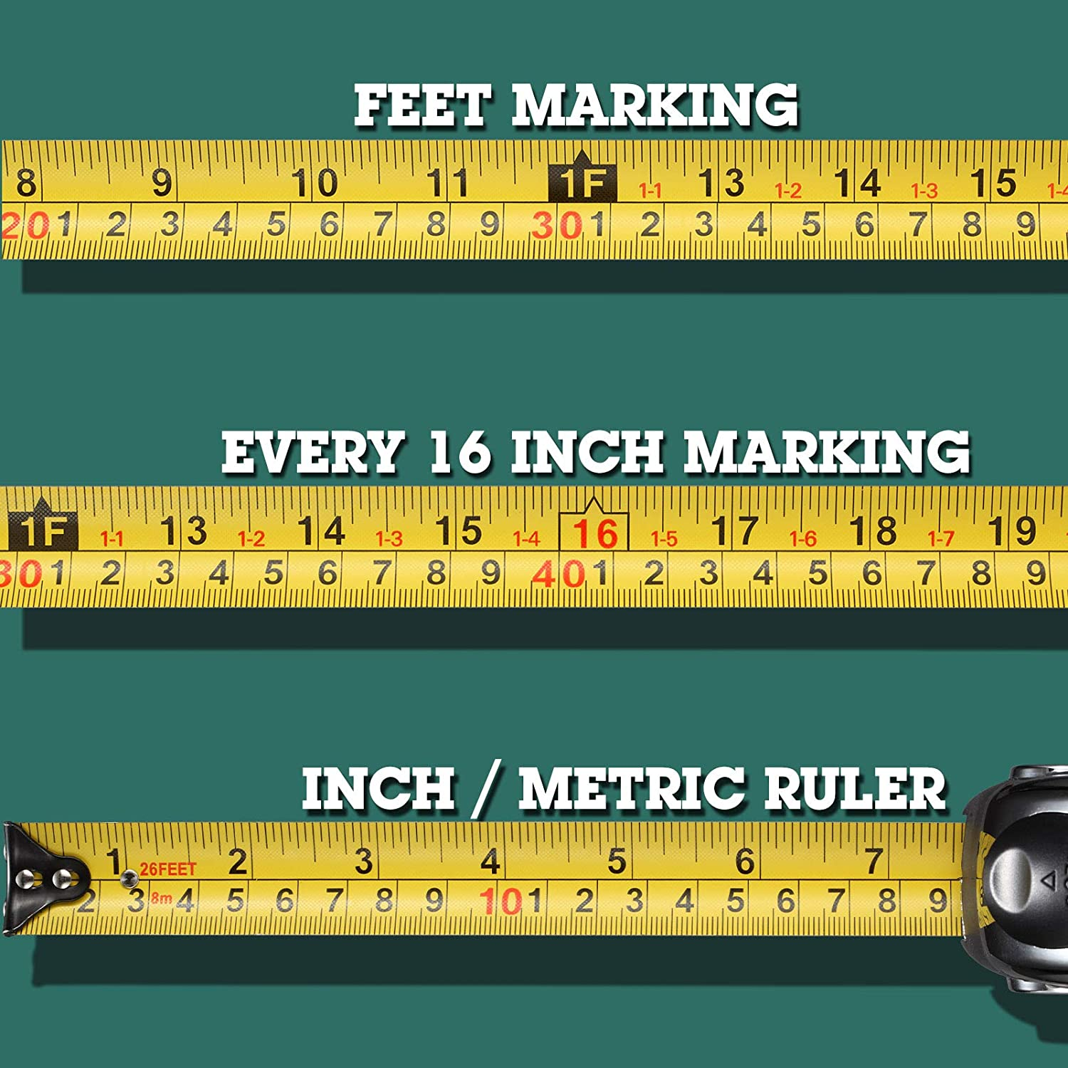 DILAKS Auto-Lock Measuring Tape Measure, 26Ft (8m) Inch Metric Ruler, 1 Inch Wider Stainless Matte Blade, Magnetic Hook, Solid Rubber Case - -