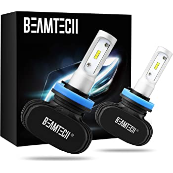 BEAMTECH H11 LED Bulb, 50W 6500K Extremely Brigh H8 H9 CSP Chips Conversion Kit Fanless Cool White All In One Plug N Play Replacement Low Fog Light