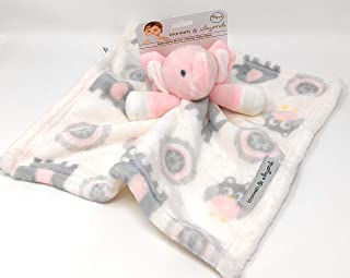 Blankets and Beyond Baby Plush Elephant Security Blanket Pink/White/Grey Nunu