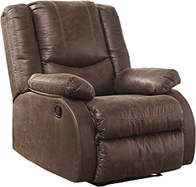 Benjara Wooden Zero Wall Recliner with Pillow Top Arms and Tufted Back, Brown