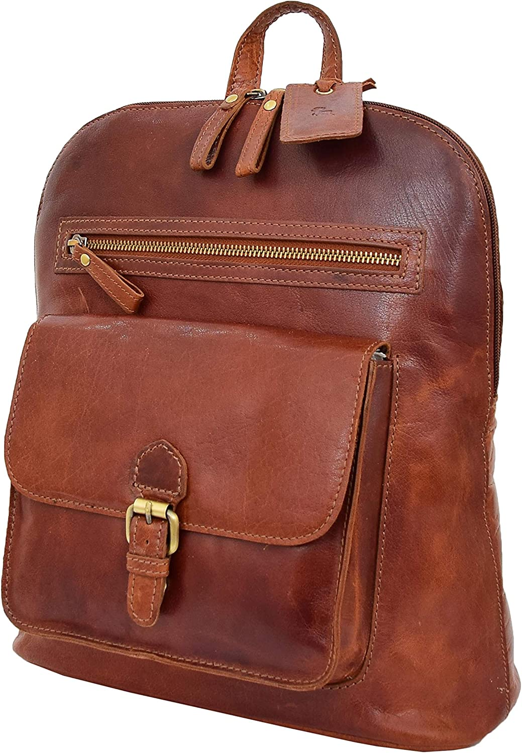 Genuine cognac Leather Backpack For Womens Casual Office Organiser Day Rucksack Campus