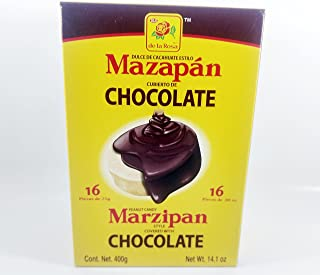 Box De La Rosa Mazapan covered chocolate of 16 Pieces Authentic Mexican Candy