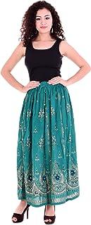Handicraft-Palace Women's Rayon Long Sequin Skirt (SRS-VEC01, Green, Free Size)