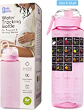 BELLYBOTTLE Pregnancy Water Bottle BPA-Free, Intake Tracker, Weekly Milestone Stickers - Pregnancy Gifts for first time moms must haves Essentials (PINK)