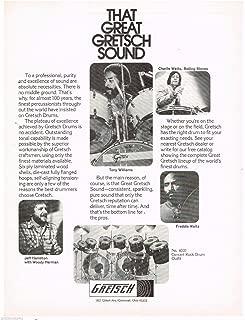 Gretsch Drums -Tony Williams/Charlie Watts/Jeff Hamilton - 1978 Advertisement
