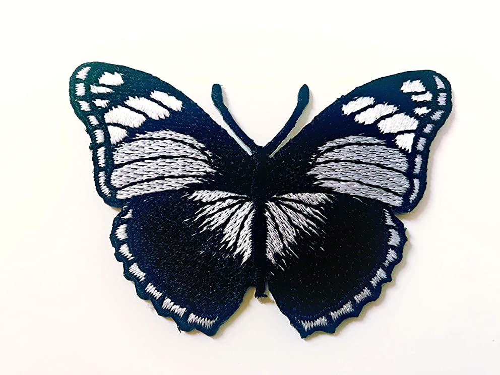 Tyga_Thai Brand Butterfly Black Color Retro Beautiful Logo Iron on sew on Patch Jacket T Shirt Patch Sew Iron on Embroidered (Iron-Butterfly-Black)