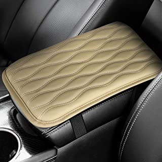 EEEKit Universal Center Console Leather Pad Cover, Waterproof Car Armrest Seat Box Cover Protector for Most Vehicle, SUV, Truck, Car(Beige)