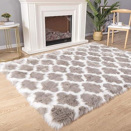 Black Carvapet Shaggy Soft Faux Sheepskin Fur Area Rugs Floor Mat Luxury Beside Carpet For Bedroom Living Room 2ft X 4ft Home Décor Kolenik Area Rugs Runners Pads