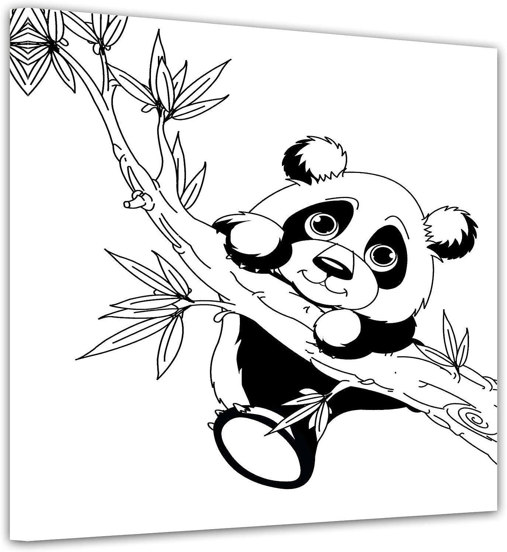 Bilderdepot21 Panda am AST - Ausmalbild auf Leinwand, aufgespannt