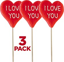 Large Heart Shape Lollipops Pack of 3 X-Large I Love You Pops, Great for Valentines Day Goody Bag Fillers or Party Favor