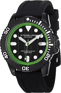 Stuhrling Original Men's 'Aquadiver' Swiss Quartz Stainless Steel and Rubber Diving Watch, Color:Black (Model: 328R.335671)