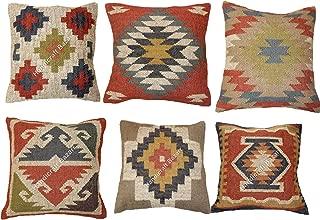 Handicraft Bazarr- 6 Set Jute Wool Living Room Dhurrie Pillow Throw Kilim Rustic 18