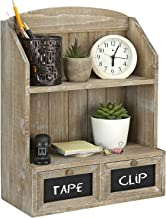 MyGift 2-Tier Rustic Brown Whitewashed Distressed Style Wood Tabletop Stand or Wall Mounted Display Shelf with 2 Drawers a...