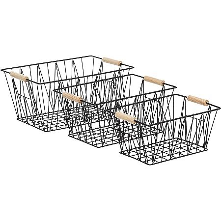 Amazon Basics Lot de 3 grands paniers de rangement métalliques, Noir