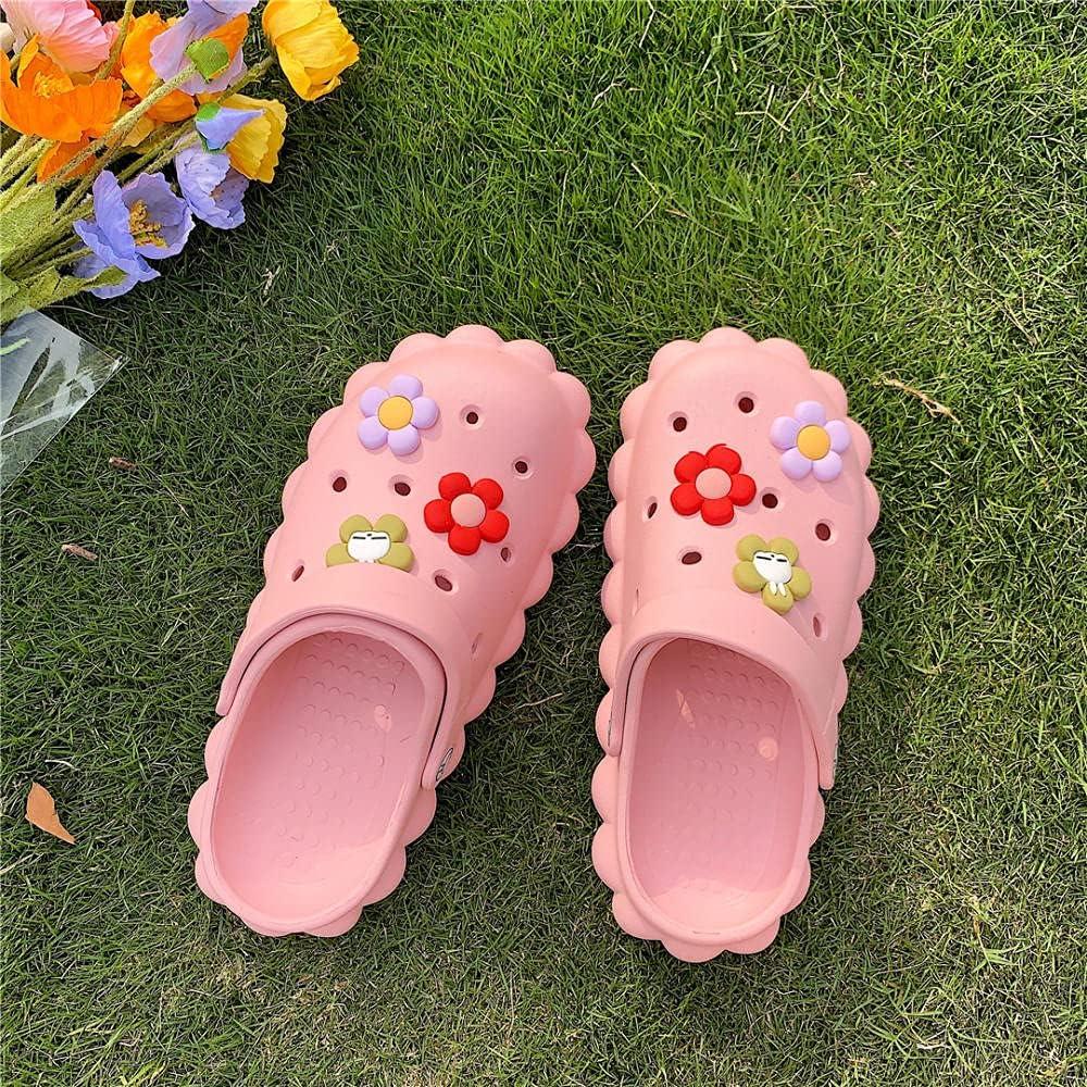 Kirin-1 Rainbow Flip Flops Men,Cute Small Flower Sandals, Summer New Non-Slip-39-40_Pink