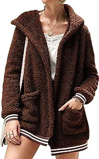 ECOWISH Women's Jacket Fleece Long Sleeve Open Front Hooded Jackets Cardigan Coat Top Winter Outwear with Pockets