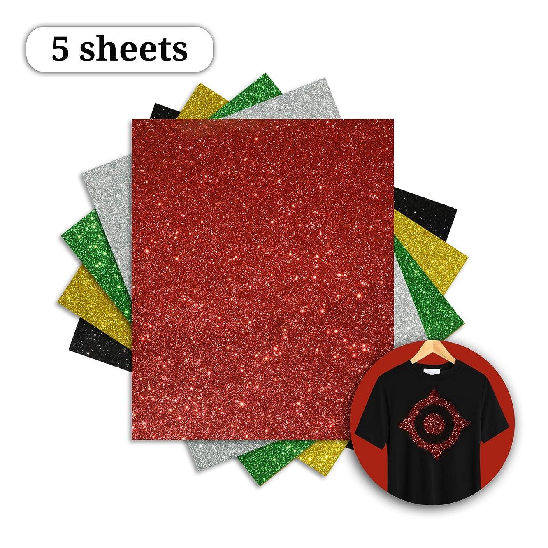 Girafvinyl Glitter HTV Iron on Vinyl Sheets 5 Sheets 5 Most Popular Colors Heat Transfer Vinyl Bundle Easy Press for DIY T-Shirts Blouse or Fabrics by Heat Press-10