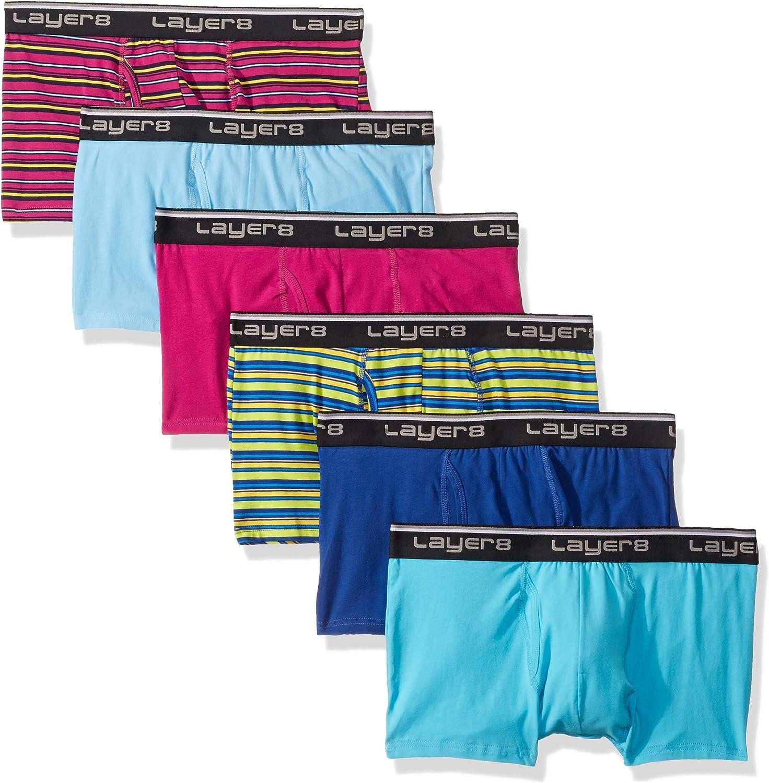 Layer 8 mens 6-pack Everyday Trunk Briefs Underwear, Multicolor