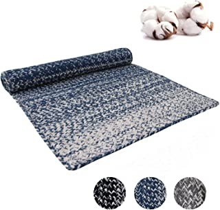Aztocratic Arizona Granite Collection Fully Reversible Rectangular Braided Rug Hand Woven Area Rugs 100% Cotton Carpet for Bedroom Living Room High Traffic Areas (3X5 Feets, Blue and White)