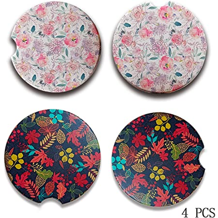 Cute Car Coasters for Women ar Cup Holder Coasters for Your Car with Fingertip Grip Car Coasters for Drinks Absorbent Auto Accessories for Women /& Lady,Pack of 2 Chrysanthemum