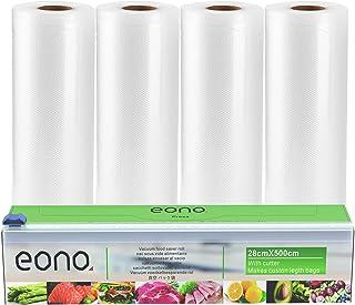 Eono by Amazon - Sac Sous Vide Alimentaire - 28 cm(W) x 5m(L) 4 Pack | avec 1 Boîte de Coupe | Pas Plus de Ciseaux | pour ...