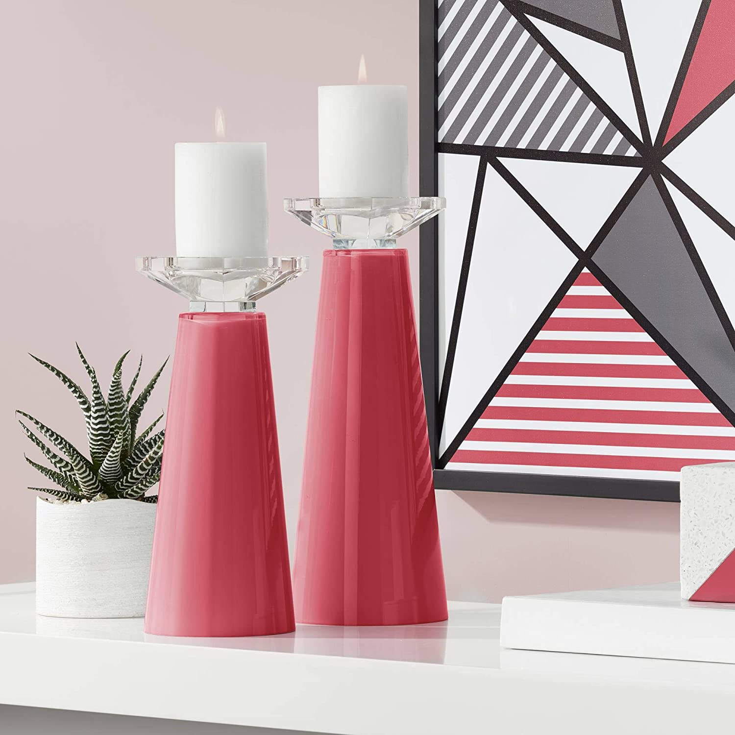 Superior Color + Plus Meghan Samba Glass Candle of Cheap mail order specialty store 2 Pillar Holder Set