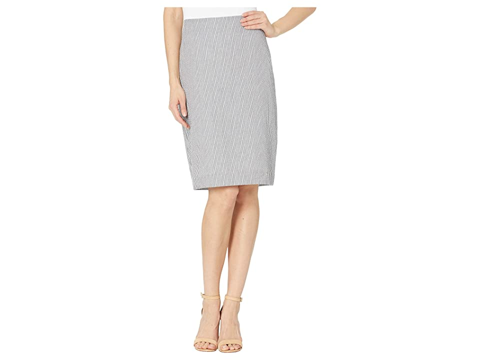 Tahari by ASL Seersucker Pencil Skirt (Seersucker Black/White) Women