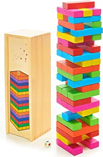 DexKid Wooden Building Blocks for Toddlers - Colored Toppling Tower Tumbling Timbers 54 pcs Age 3+
