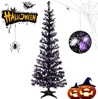 Halloween Tinsel Trees Collapsible, 5FT Artificial Christmas Tree Reusable, Pop Up Pencil Xmas Tree with Plastic Stand Outdoor Indoor for Home Decoration, Office, Party, Apartment, Fireplace-Spider