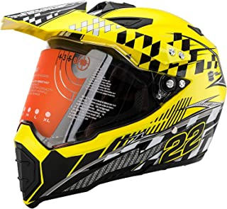 MotorFansClub Motorcycle Modular Full Face Helmet Off-Road Dirt Bike Motorcycle Flip Up Dual Visor Sun Shield Fit for Compatible with Adult (Lemon Yellow, X-Large)
