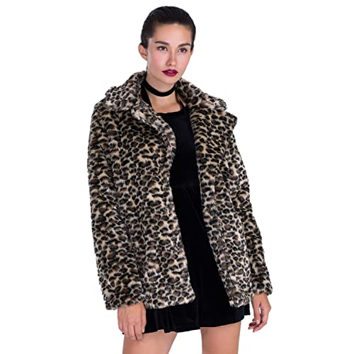 171cd64f8c5 Choies Women Elegant Vintage Leopard Print Lapel Faux Fur Coat Fall Winter  Outwear