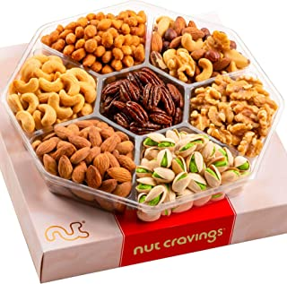 Sponsored Ad - Gourmet Nut Gift Basket, Red Box (7 Mix Tray) - Easter Food Arrangement Platter, Care Package Variety, Prim...