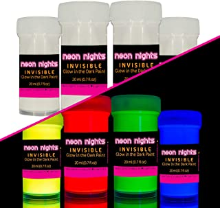 'Invisible' Wall and Canvas Paints by neon nights- 4 Invisible UV Glow in The Dark Paint Cans - Vibrant Ultraviolet Paints Charge in The Daylight and Glow in The Darkness - 20ml Luminescent Cans