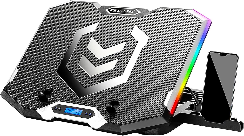 ICE COOREL Base Refrigeradora Portatil, Base Portatil con 6 Ventilador+5 Altura Ajustables, Pantalla LCD Ventilador portátil RGB para juegos adecuado para computadoras de 10 a 17 pulgadas