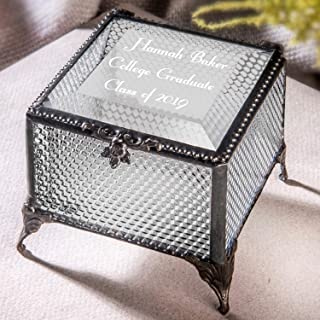 Personalized Graduation Gift For Her Glass Jewelry Box Engraved Keepsake High School Graduate Or College Grad Class Of 2019 Daughter Granddaughter Girl Friend JDevlin Box 825 EB217-3 (Clear Honeycomb)