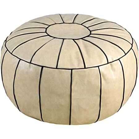 Thgonwid Handmade Moroccan Round Pouf Foot Stool Ottoman Seat Faux Leather Large Storage Solution Bean Bag Floor Cushion Cover Foot Rest for Living Room, Bedroom or Wedding Gifts (Unstuffed) (Beige)