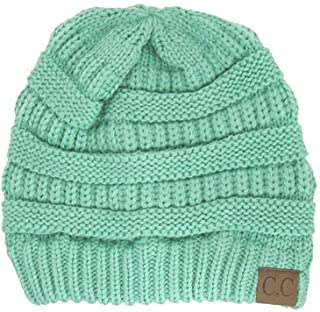 Thick Slouchy Knit Oversized Beanie Cap Hat,One Size,Sage,One Size,Sage