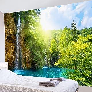 LB 自然風景タペストリー 森の滝 太陽と瀑布 おしゃれ 壁掛け インテリア モダン 風景画 ファブリック装飾品 多機能 壁 窓 個性プレゼント 布製 グリーン (150x100cm)