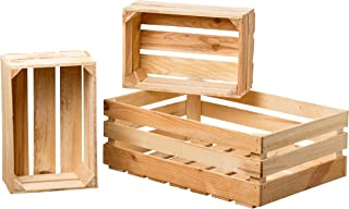 WHW Whole House Worlds Farmers Market Wooden Fruit Crates, Set of 3, Sustainable Fir, Nesting Rectangles, for Display, Storage, and More. 1-23 1/2 x 15 3/4 x 8 3/4 Inches, 2-14 1/2 x 9 3/4 x 6 Inches