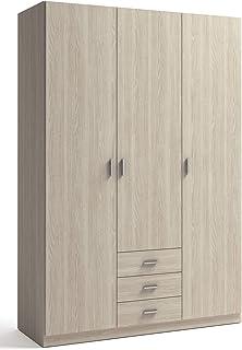 Miroytengo Armario Dormitorio ropero Color Sable 3 cajones 3 Puertas Gran Capacidad Almacenamiento 216x150x53 cm