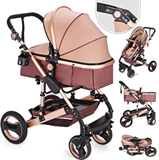 Happybuy 2 in 1 Portable Baby Stroller Khaki Anti-Shock Springs Foldable Luxury Baby Stroller Adjustable High View Pram Stollers for Babys