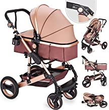 Happybuy 2 in 1 Portable Baby Stroller Anti-Shock Springs Foldable Luxury Baby Stroller Adjustable High View Pram Travel System Infant Carriage Pushchair (2in1/Gold)