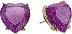 Betsey Johnson Purple Sparkle Heart Stud Earrings