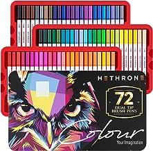 Hethrone 72 Rotuladores Lettering Acuarelables Plumas de Colores Plumas de punta FinaPlumas de Fieltro Marcadores de Arte para Adultos y Niños Libros para Colorear Caligrafía Dibujo Toma de Notas