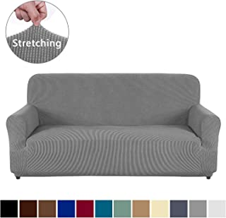 AUJOY Couch Cover Stretch 1-Piece Sofa Slipcover for 3 Cushion Couch Jacquard Spandex Fabric Furniture Protector with Anti-Slip Foams (Sofa, Light Gray)