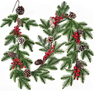 6Ft Artificial Christmas Pine Garlands with Red Berries Decorative Xmas Garlands for Winter Home Christmas Decor